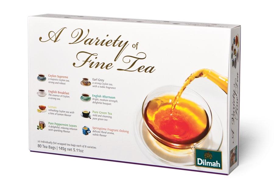 pudełko różnych herbat dilmah